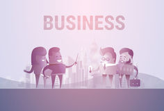Business People Group Silhouette Meeting Speak Discussion Communication Concept Stock Photos