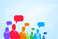 Business People Group Silhouette Speech Chat Stock Image