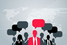 Business People Group Silhouette Speech Chat Stock Photo