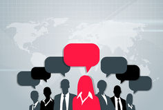 Business People Group Silhouette Speech Chat Royalty Free Stock Photo