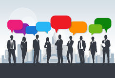 Business People Group Silhouette Speech Chat Royalty Free Stock Image