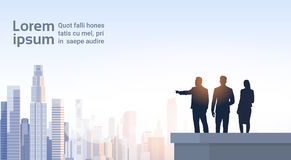 Business People Group Silhouettes On Office Building Roof Over City Landscape Stock Photos