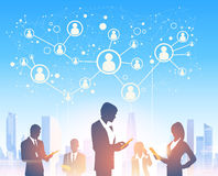 Business People Group Silhouettes Over City Landscape Modern Office Social Network. Communication Vector Illustration Stock Photography