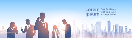 Business People Group Silhouettes Over City Landscape Modern Office Social Network. Communication Vector Illustration Royalty Free Stock Photography