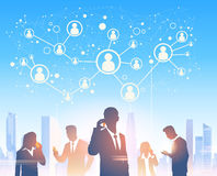 Business People Group Silhouettes Over City Landscape Modern Office Social Network. Communication Vector Illustration Stock Image