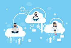 Business People Group Sitting on Clouds Use Laptop Computer, Cloud Technology Online Internet Data Stock Images