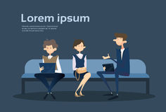 Business People Group Sitting On Coach Businessman Using Laptop Computer Office. Flat Vector Illustration royalty free illustration