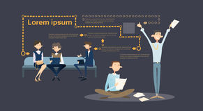 Business People Group Sitting On Coach Businessman Using Laptop Computer Tablet. Business People Group Sitting On Coach Businessman Using Laptop Computer Office vector illustration