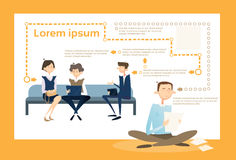 Business People Group Sitting On Coach Businessman Using Laptop Computer Tablet. Business People Group Sitting On Coach Businessman Using Laptop Computer Office royalty free illustration