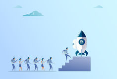 Business People Group Sitting In Launching Space Ship New Stratup Strategy. Business People Group Sitting In Launching Space Ship New Stratup Strategy Royalty Free Stock Image