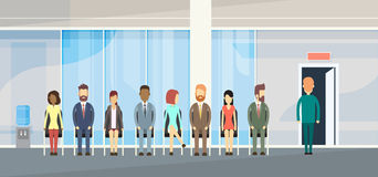 Business People Group Sitting In Line Queue Door Royalty Free Stock Images