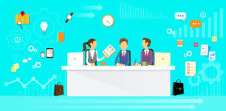Business People Group Sitting at Office Desk Flat Royalty Free Stock Images
