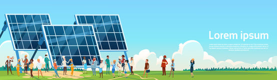 Business People Group Solar Energy Panel Renewable Station Presentation. Flat Vector Illustration Royalty Free Stock Images