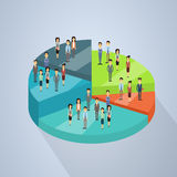 Business People Group Stand On Pie Diagram Success Teamwork Concept 3d Isometric. Vector Illustration Royalty Free Stock Image