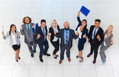 Business People Group Successful Excited Team Top Angle View, Businesspeople Happy Smile With Raised Hands Stock Photo