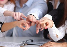 Business people group team point finger at you Stock Photo