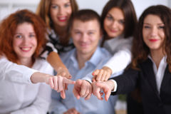 Business people group team point finger at you Royalty Free Stock Photo