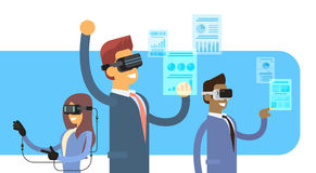 Business People Group Team Wear Virtual Reality Digital Glasses Headset Gloves Finance Graph Chart. Flat Vector Illustration Stock Photos