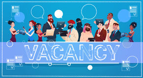 Business People Group Vacancy Search Employee Position Human Resources Recruitment. Flat Vector Illustration Stock Photo