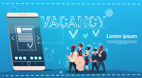 Business People Group Vacancy Search Online Employee Position Human Resources Recruitment. Flat Vector Illustration Stock Images