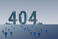 Business People Group Walking To 404 Not Found Sign Team Solving Problem Concept. Flat Vector Illustration Royalty Free Stock Photos