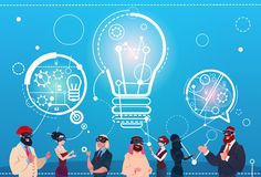 Business People Group Wear Digital Reality Glasses Chat Bubbles New Idea Startup Discussion Concept Royalty Free Stock Photos