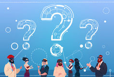 Business People Group Wear Digital Reality Glasses Question Mark Ponder Problem Concept Royalty Free Stock Photography