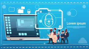 Business People Group Wear Digital Virtual Reality Glasses Laptop Lock Data Protection Concept. Flat Vector Illustration Royalty Free Stock Images
