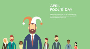 Business People Group Wear Jester Hat, Fool Day April Holiday Banner Copy Space Stock Image