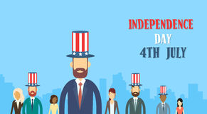 Business People Group Wear United States Flag Hat Independence Day Holiday Stock Photo