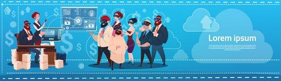 Business People Group Wear Virtual Reality Glasses Digital Interface Screen Presentation Seminar. Flat Vector Illustration royalty free illustration
