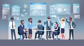 Business People Group Wearing Vr Headset During Brainstorming, Team In 3d Glasses On Meeting Virtual Reality Technology. Concept Flat Vector Illustration Stock Photos