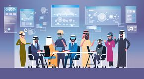 Business People Group Wearing Vr Headset During Brainstorming, Team In 3d Glasses On Meeting Virtual Reality Technology. Concept Flat Vector Illustration Royalty Free Stock Images