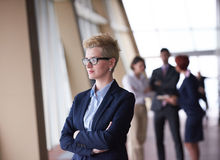 Business people group, woman in front  as team leader Stock Image