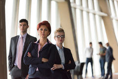Business people group, woman in front  as team leader Royalty Free Stock Image