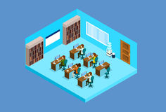 Business People Group Work On Computer Office Interior Isometric 3d Stock Photography