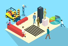Business People Group Working 3d Isometric. Business People Group Working Paper Document 3d Isometric Vector Illustration Stock Images