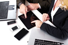 Business people group working with laptop. Royalty Free Stock Image