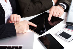 Business people group working with laptop. Royalty Free Stock Photos