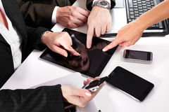 Business people group working with laptop. Stock Images