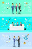 Business people group working set, handshake Royalty Free Stock Photos