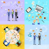 Business people group working set, handshake Stock Images