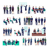 Business People Groups Collection. At meetings briefings conference discussing different projects and financial strategies isolated vector illustration Royalty Free Stock Photography
