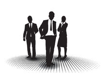 Business people on halftone background. Vector image of three business people on a halftone background Royalty Free Stock Images