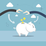 Business People Hand Piggy Bank Put Money Savings Investment. Flat Vector Illustration Royalty Free Stock Images