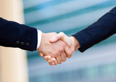 Business people hand shake oudoor Stock Photos