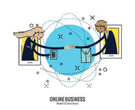 Business people hand shake  on smartphone across the world. Royalty Free Stock Photos