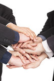Business people hand together. All business people hand together for teamwork concept Royalty Free Stock Photos