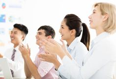 Business people hands applauding at meeting stock photos