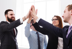 Business people with hands in circle, teamwork Royalty Free Stock Photos